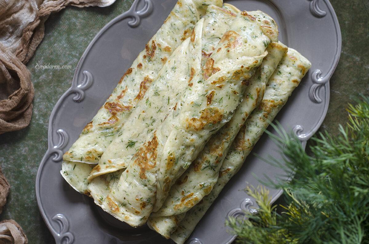 Блины на кефире с сыром и укропом